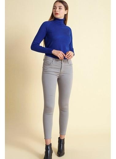 Modaset Özel Kumaştan Üretim Skinny Fit Pantolon  Gri
